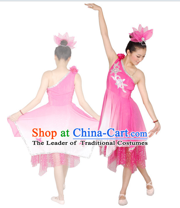 Chinese Teenagers Folk Dance Costume and Headpiece for Competition