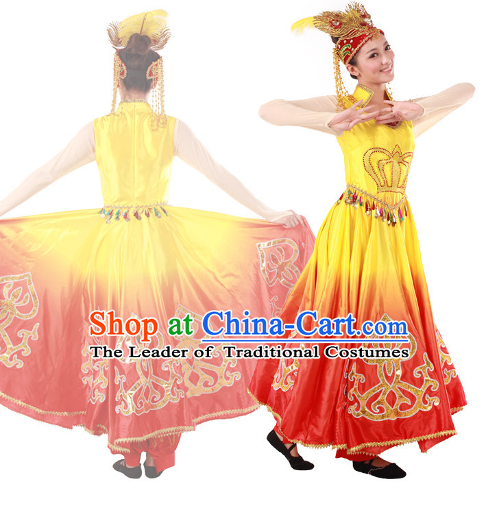 Chinese Teenagers Dance Costume and Headpiece for Competition