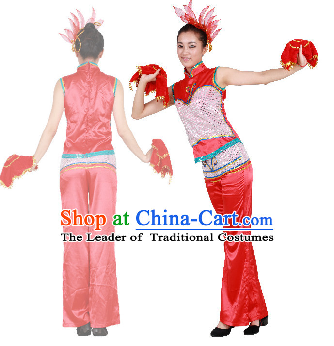 Chinese Teenagers Handkerchief Dance Costumes for Competition