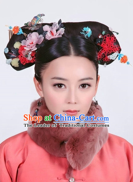 Chinese Handmade Qing Noblewoman Flower Hair Accessories Headband Headbands Fascinators Wedding Hair Clips