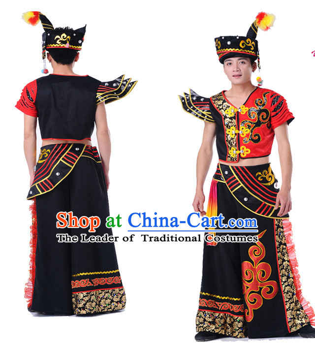 Chinese Folk Ethnic Dance Costumes Complete Set for Men