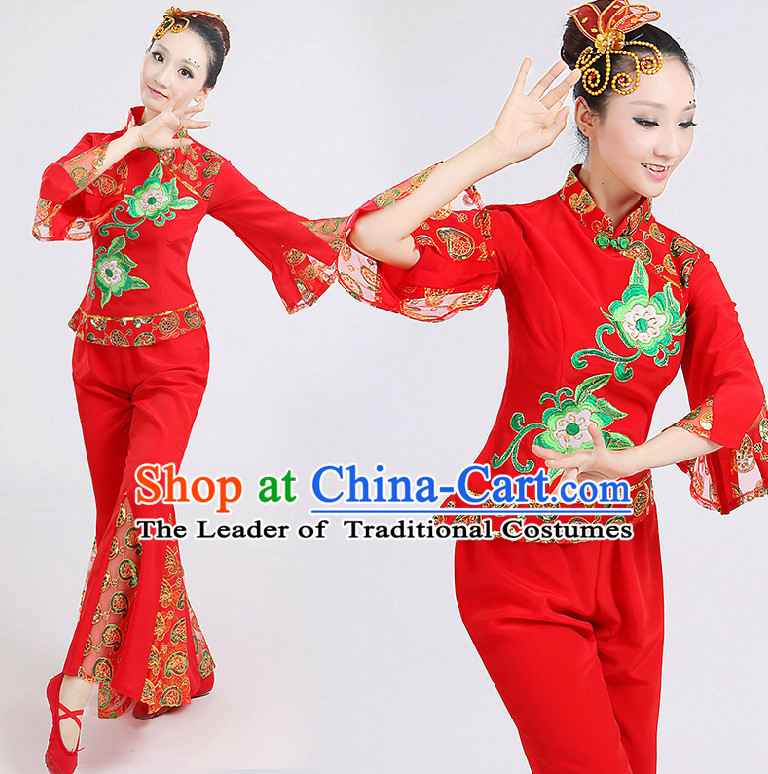 Chinese Red Folk Dance Costumes Group Dancing Costume Dancewear China Dress Dance Wear and Head Pieces Complete Set