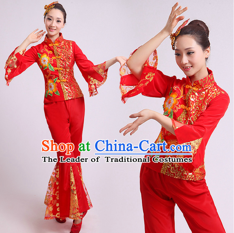 Chinese Fan Dance Costumes Group Dancing Costume Dancewear China Dress Dance Wear and Head Pieces Complete Set