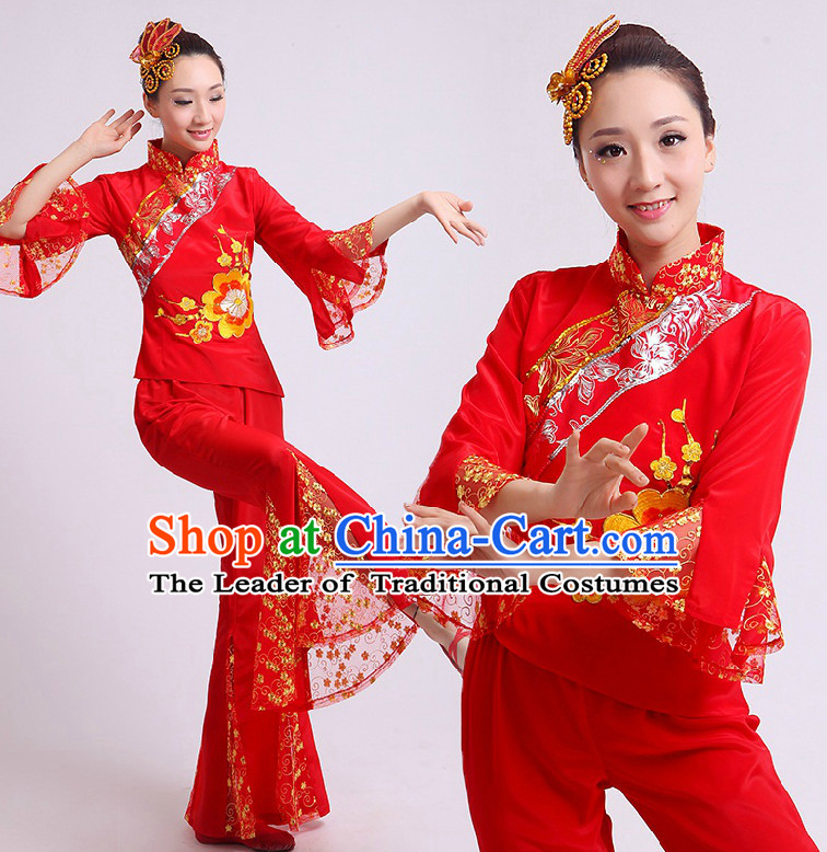 Chinese Fan Dance Costumes Team Dancing Costume Dancewear China Dress Dance Wear and Head Pieces Complete Set