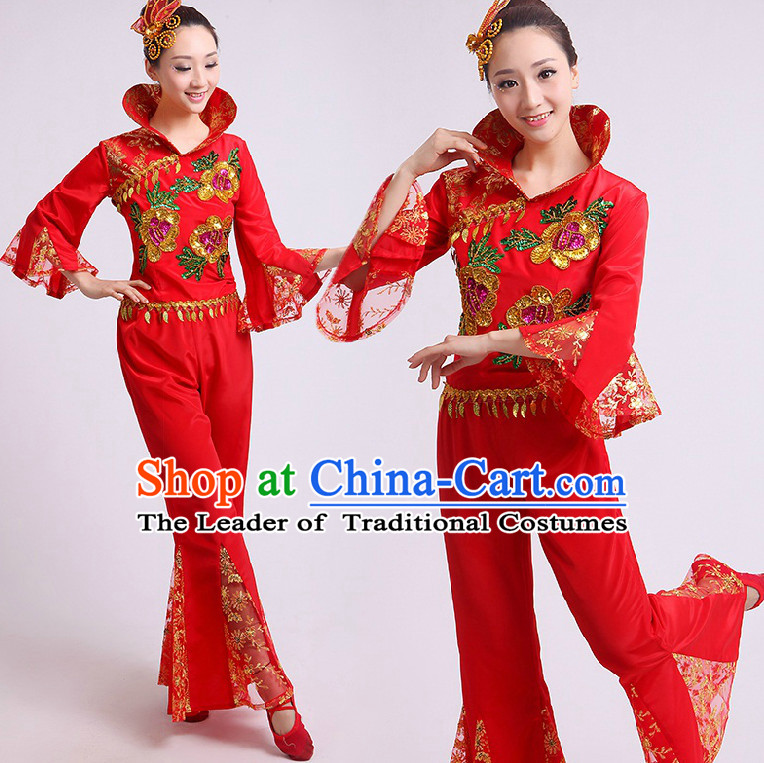 Chinese Fan Dance Costumes Team Dancing Costume Dancewear China Dress Dance Wear and Headwear Complete Set