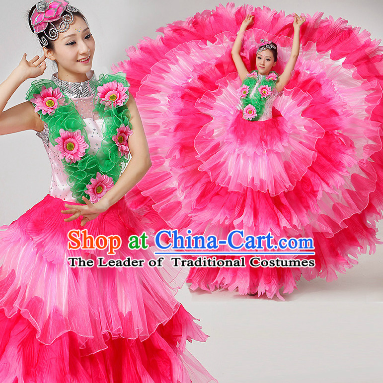 Chinese Stage Dance Costumes Ribbon Dancing Costume Dancewear China Dress Dance Wear and Hair Accessories Complete Set