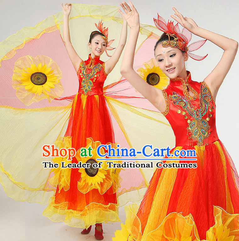 Chinese Festival Dance Costumes Ribbon Dancing Costume Dancewear China Dress Dance Wear and Hair Accessories Complete Set