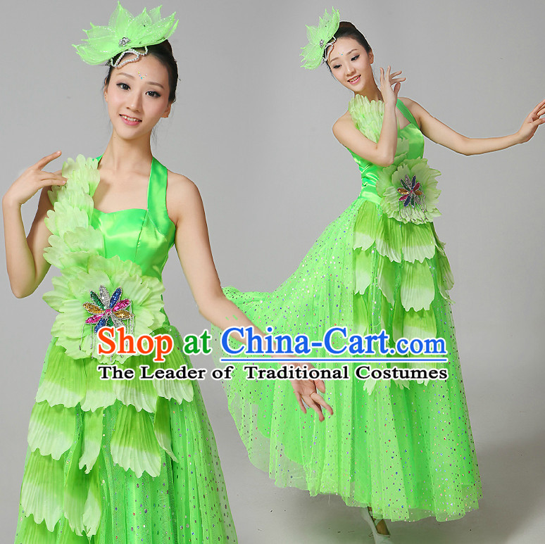 Chinese Flower Dance Costumes Ribbon Dancing Costume Dancewear China Dress Dance Wear and Hair Accessories Complete Set