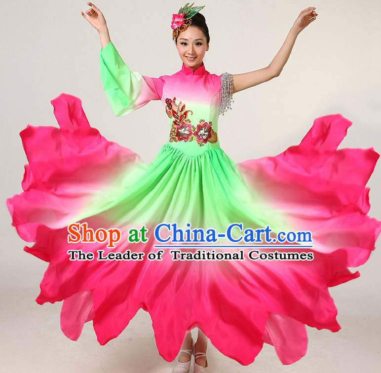 Color Transition Chinese Dance Costumes Competition Costumes Dancewear China Dress Dance Wear and Headpieces Complete Set