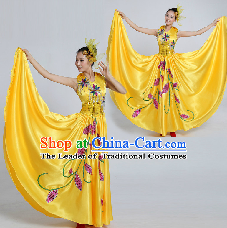 Asian Folk Dance Costume Group Dance Costumes Dancewear China Dress Dance Wear and Headpieces Complete Set
