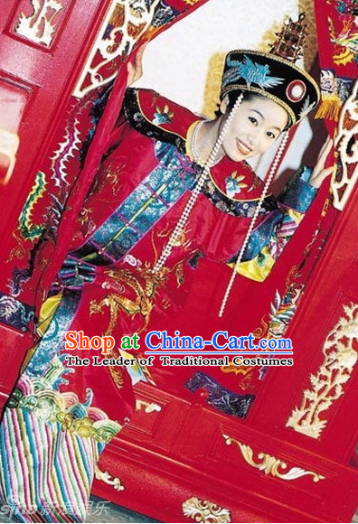 Chinese Ancient Empress Wedding Dresses and Hat Complete Set