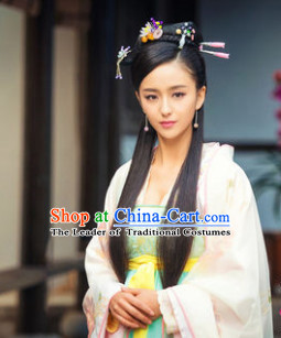Ancient Chinese Beauty Black Wigs and Hair Jewelry