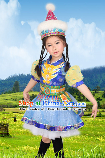 Chinese Mongolian Ethnic Minority Dance Costume Competition Dance Costumes for Kids