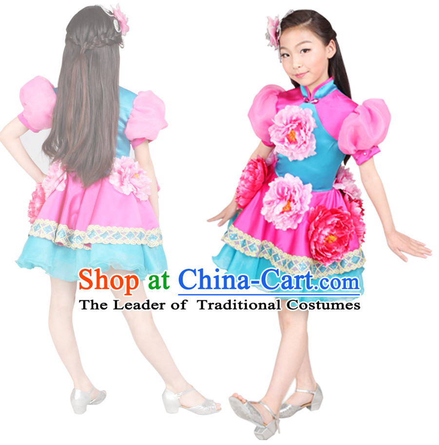 Chinese Folk Stage Dance Costume Competition Dance Costumes for Kids