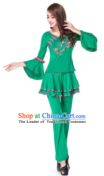 Green Chinese Style Fan Dance Costume Discount Dance Costume Ideas Dancewear Supply Dance Wear Dance Clothes Suit
