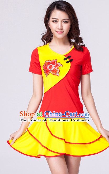 Red Yellow Chinese Style Parade  Costume Ideas Dancewear Supply Dance Wear Dance Clothes Suit