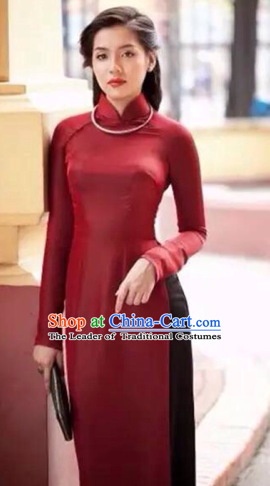 Red Traditional Viet Causal Dress for Women