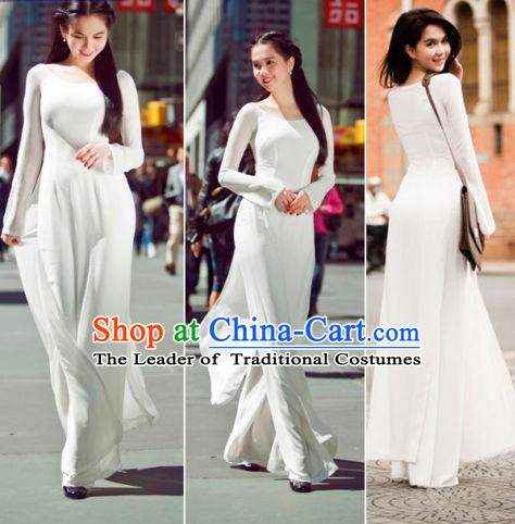 Pure White Traditional Vietnamese Girl Clothing Ao Dai