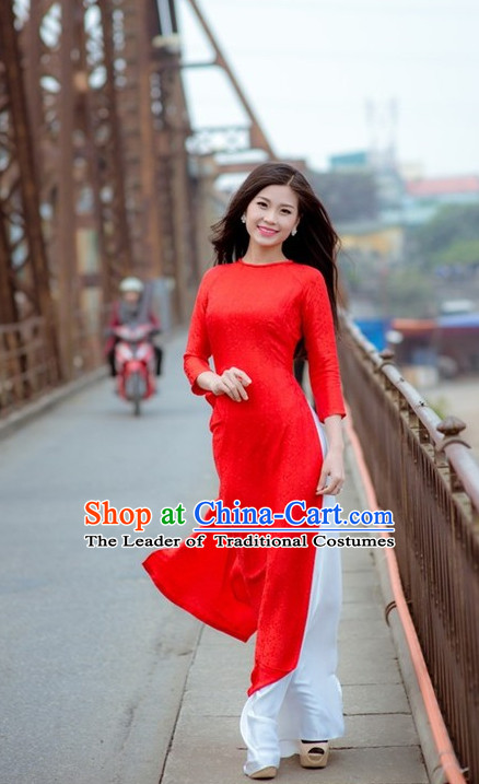 Red Viet Cheongsam and Pants Complete Set
