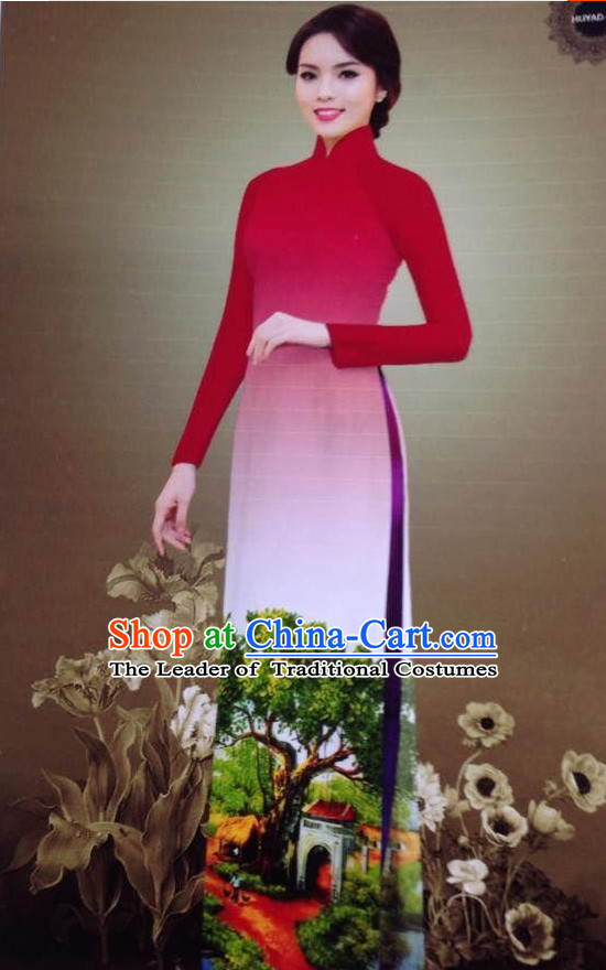 Color Transition Ao Dai Outfits for Women