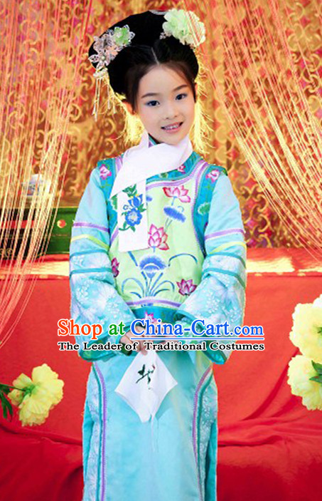 Qing Dynasty Princess Clothing and Headwear Complete Set for Kids