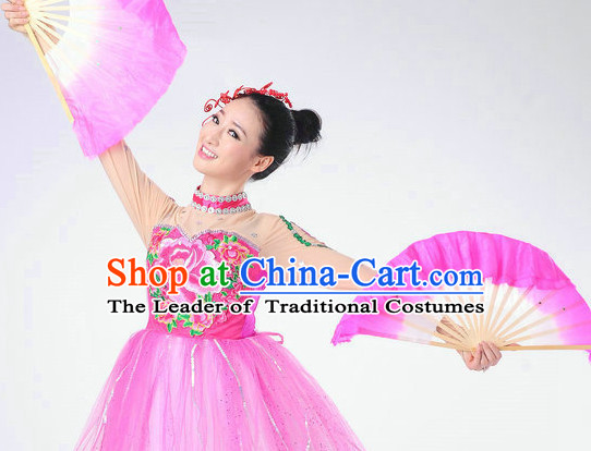 Chinese Folk Fan Dance Outfits for Women