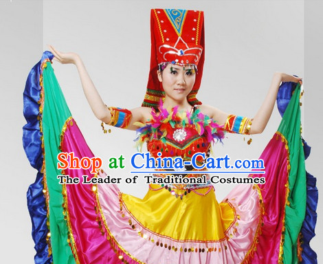 Chinese Stage Celebration Ethnic Dancewear and Hat Complete Set for Women