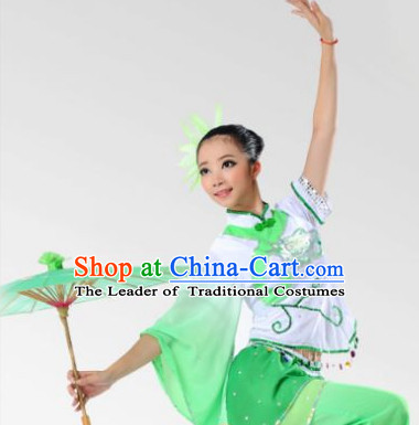 Chinese Stage Performance Fan Dancewear Dancing Costume Complete Set for Women