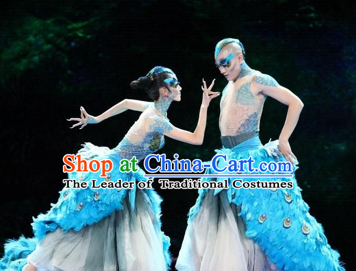 Chinese Professional Stage Performance Peacock Dancewear Dance Costume Complete Set for Women