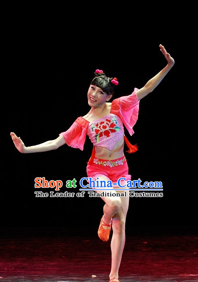 Chinese Team Folk Han Dance Costume Complete Set for Girls
