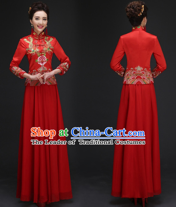 Red Wedding Dress and Skirt Complete Set for Girls
