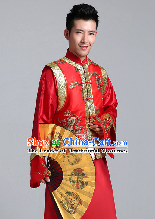 China Minguo Traditional Wedding Skirts and Jackets for Bridegroom