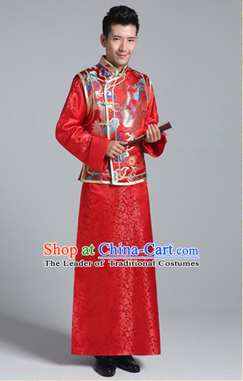 China Minguo Traditional Wedding Blouse and Pants for Bridegroom