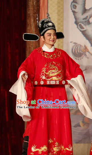 Red Chinese Opera Stage Performance Official Costume and Hat Complete Set
