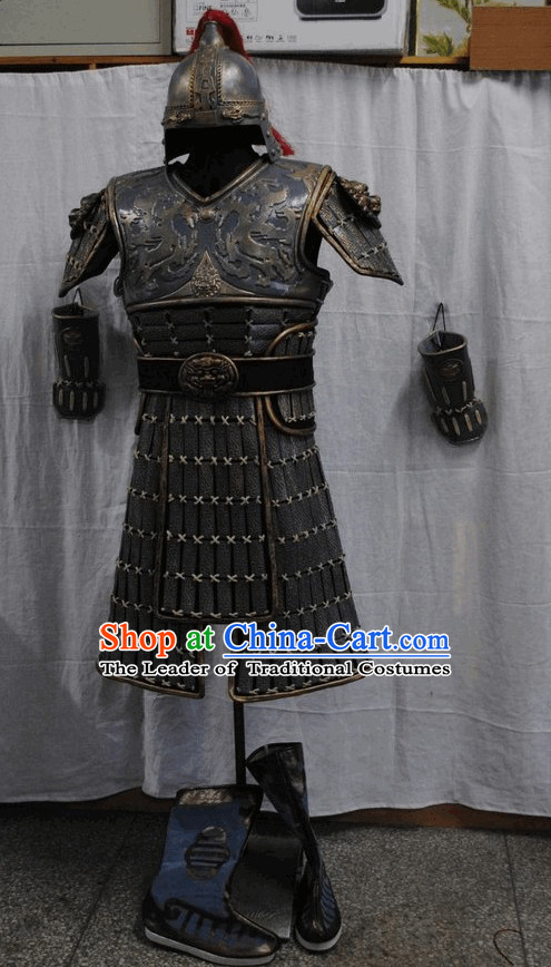 Asian Warrior Costume and Hat and Boots Full Set