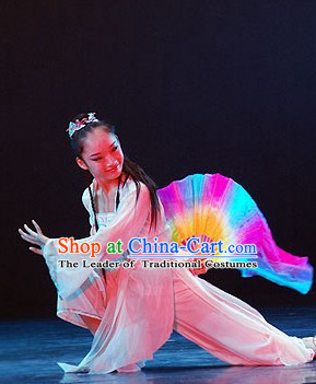 Chinese Traditionial Fan Dance Costume for Girls
