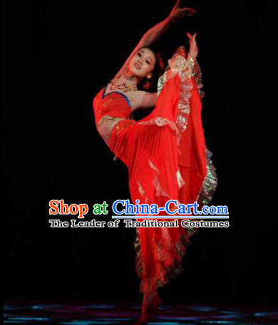 Chinese Stage Performance Red Dai Dancing Costume and Head Wear for Women