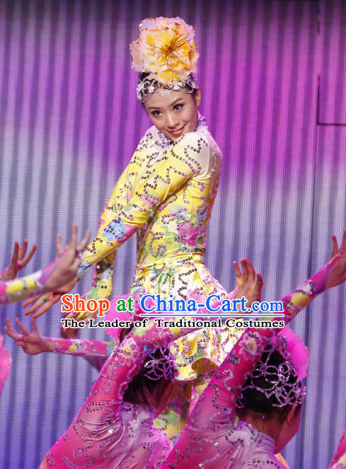 Chinese Profesional Stage Dancing Costume and Headwear Complete Set for Women