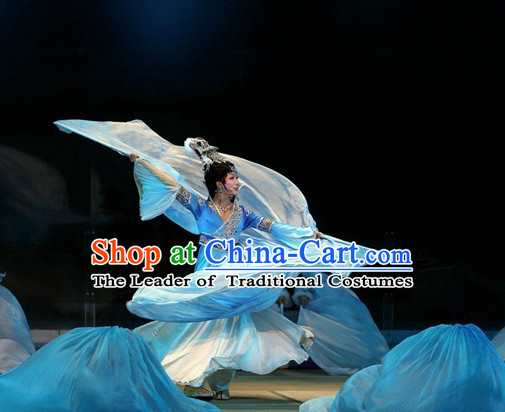Chinese Romantic Classic Blue Stage Dance Costumes Dancewear for Women
