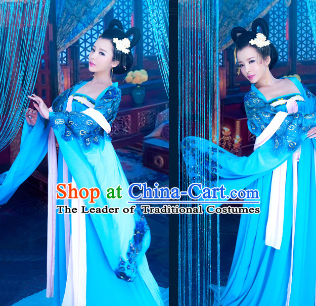 Tang Dynasty Ancient Blue Lady Costume Noblewomen