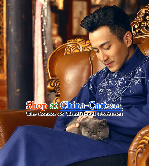 Bamboo Embroidery Mandarin Long Robe for Men