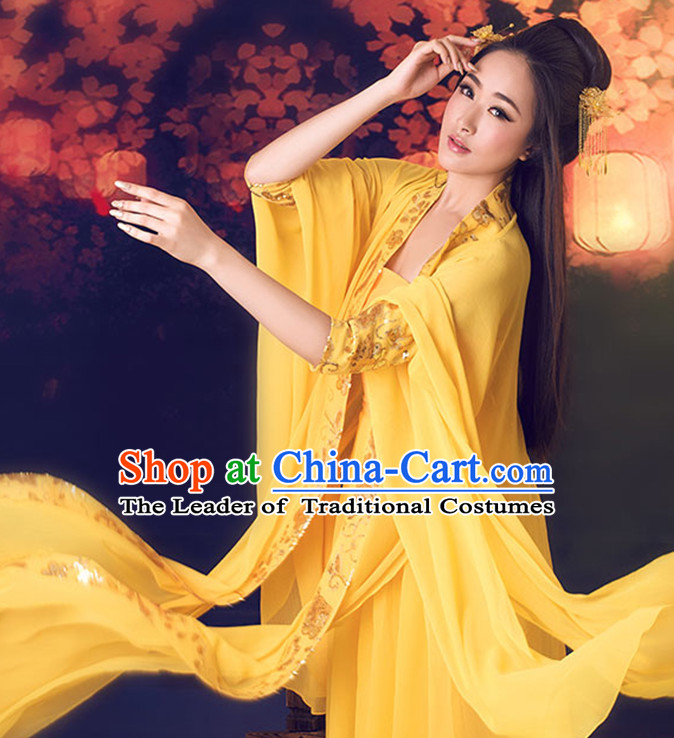 Yellow Color Ancient Chinese Tang Dynasty Hanfu Clothes for Women