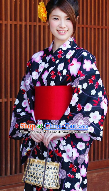 Traditional Authentic Japanese Kimono Kimonos Dress Fashion Furisode Yukata Clothing Robe online Complete Set for Women