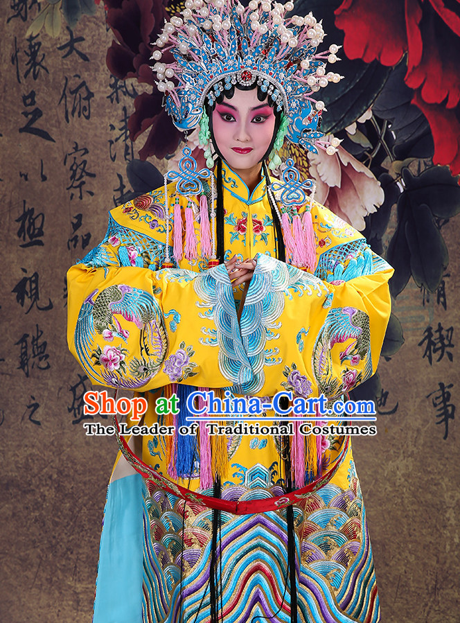 Ancient Chinese Hua Dan Empress Opera Costume and Phoenix Coronet Complete Set for Women