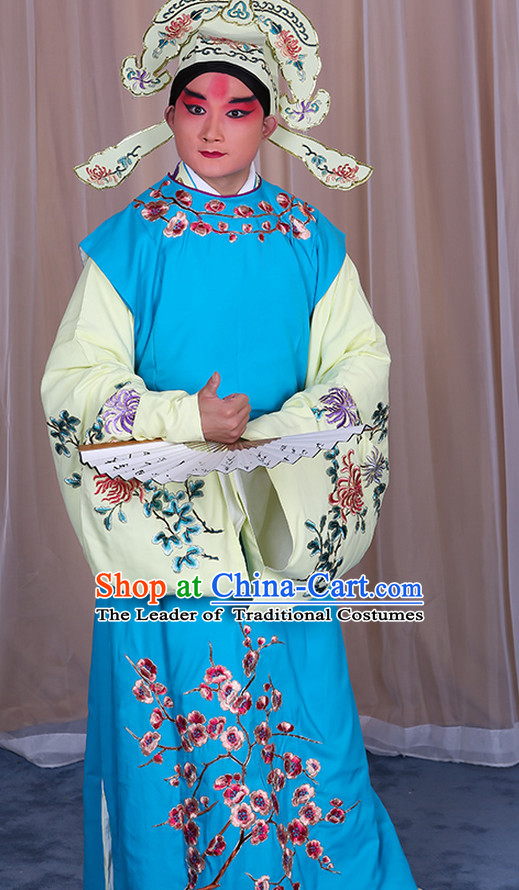 Ancient Chinese Young Scholar Costumes and Hat Complete Set for Men
