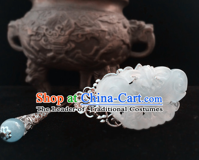 Ancient Chinese Prince Handmade Jade Headwear Head Pieces for Men