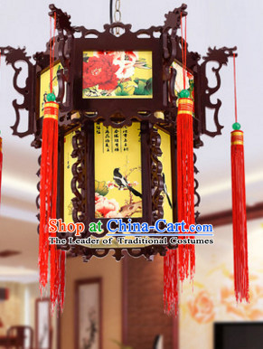 Birds Flower Ancient Chinese Handmade Wooden Ceiling Lantern