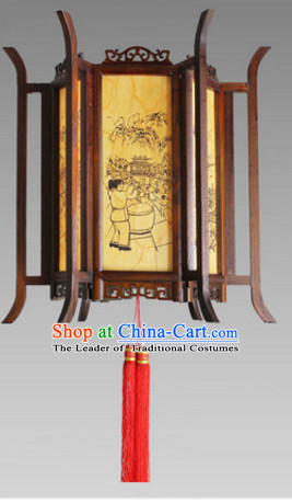 Chinese Ancient Handmade Natural Wood Palace Lantern