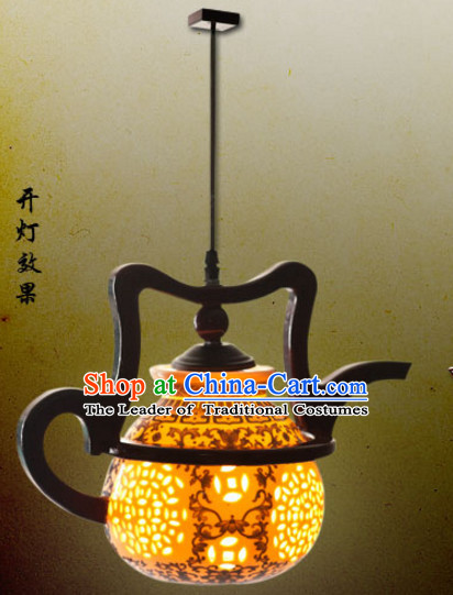 Chinese Antique Style Ancient Handmade Ceramics Tea Port Hanging Palace Lantern