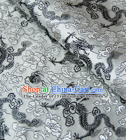 Chinese Traditional Grey Brocade Dragon Fabric